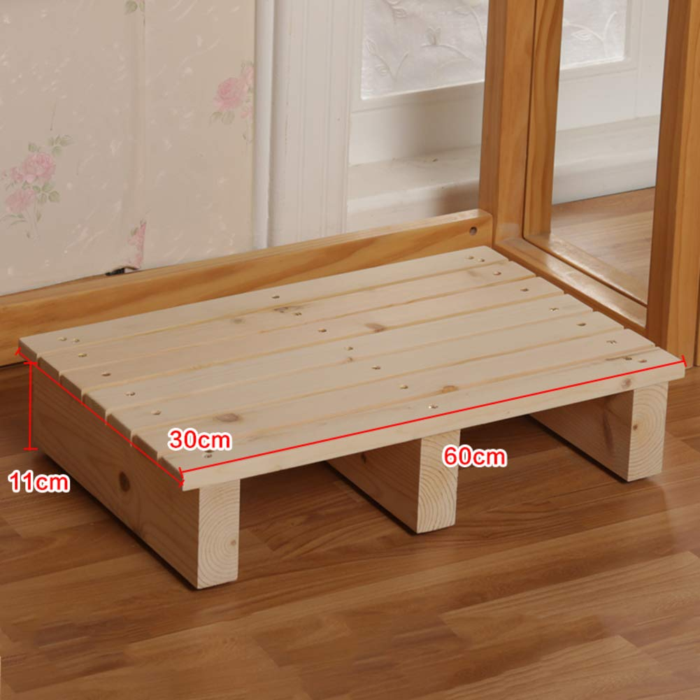 H 60x30x11cm(24x12x4in) Wood footrest,Tall with Extended Legs Wooden Foot Stool Natural Floor Bench Sturdy Wooden footrest Pine with Height Storage-N 50x30x13cm(20x12x5in)