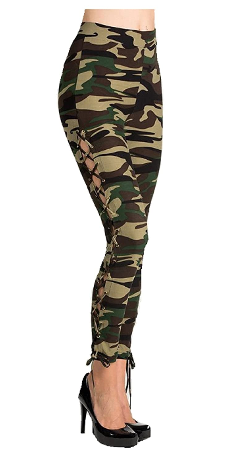 f60e02ed7f686f Love My Seamless Missy Ladies One Size Criss Cross Side Eyelet Lace Up  Camouflage Print Rise Leggings Pants (Multi) at Amazon Women's Clothing  store: