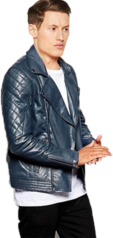 Mens Navy Blue Stylish Motercycle Biker Hi-Quality Genuine /& Faux Leather Jacket