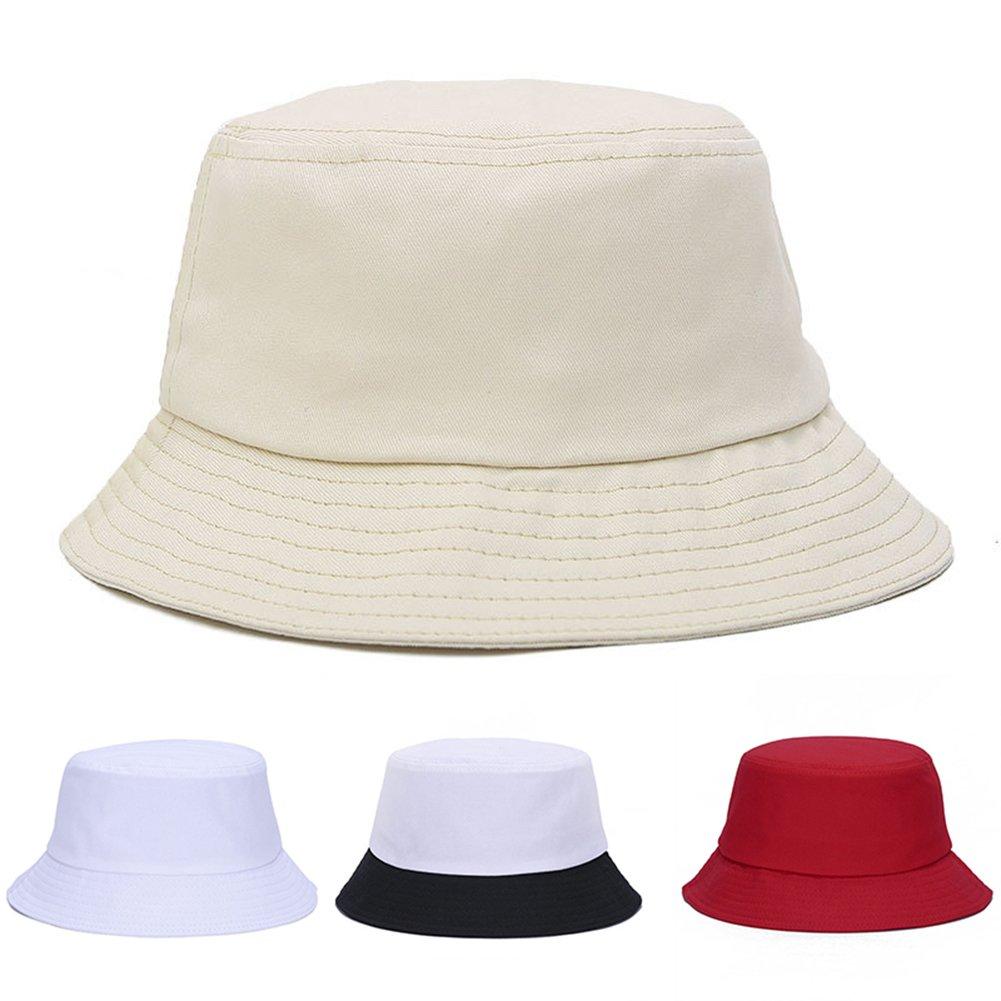 Beige Connoworld Casual Bucket Hat Men Women Outdoor Camping Hiking Fisherman Hat Visor Basin Cap