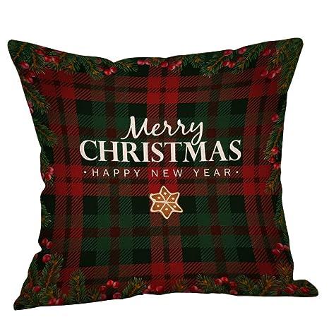 TREESTAR Patrón A Cuadros de Navidad Funda de Almohada Moderna Casa Simple Lino Almohada Sala de Estar Sofá Coche Cojín Cintura Funda de Almohada