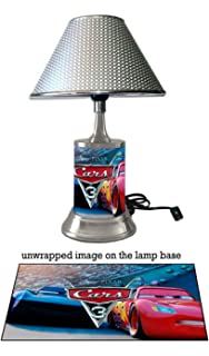 Amazon disney cars talking lightning mcqueen table lamp cars 3 lamp with chrome shade disneys mozeypictures Image collections