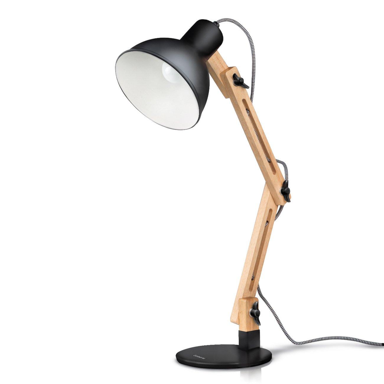Tomons Scandinavian Swing Arm Wood Desk Lamp Table Lamp (LED Bulb Included)    Black: Amazon.co.uk: Kitchen U0026 Home Part 89