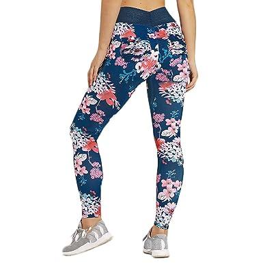 beautyjourney Leggings Estampados de Flores para Mujer Pantalones ...