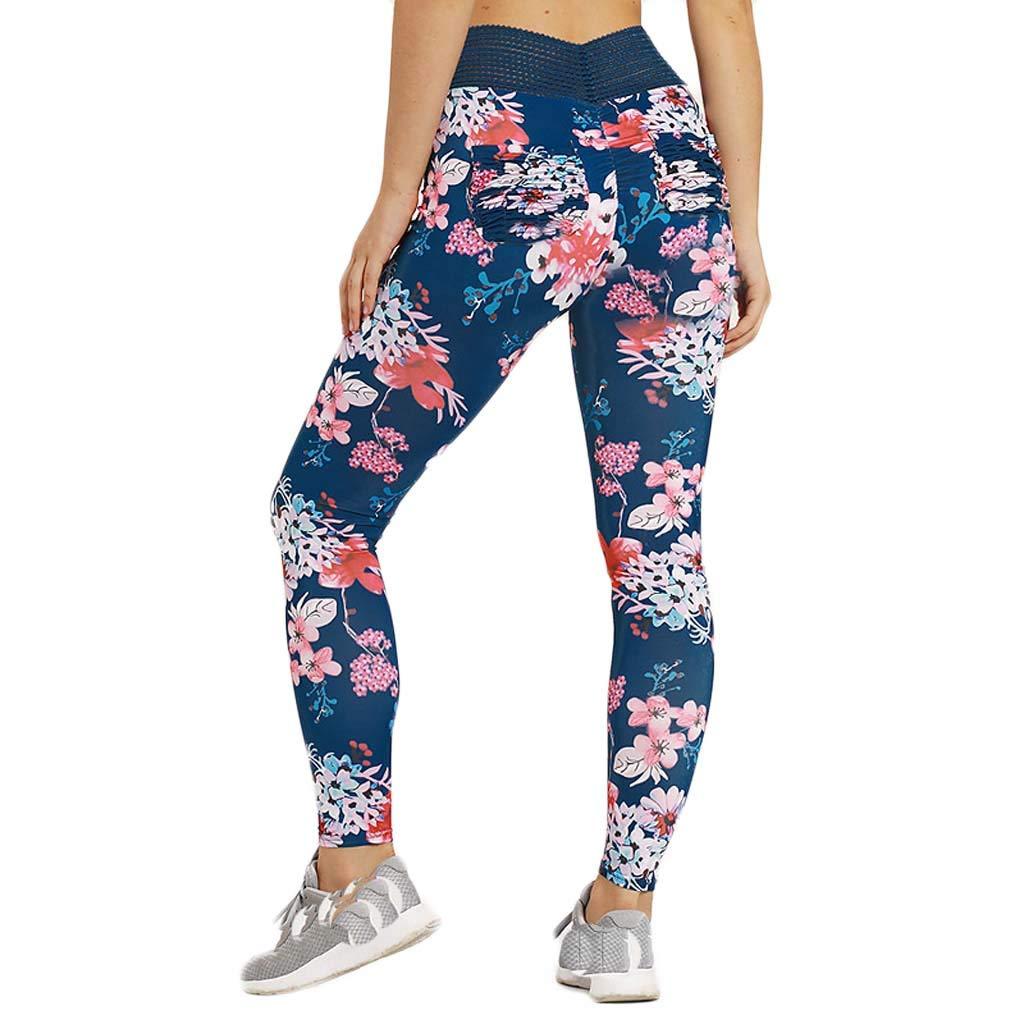 Sunmoot Ladies Fitness Yoga Running Training Tight Elastic Printed Yoga Pants
