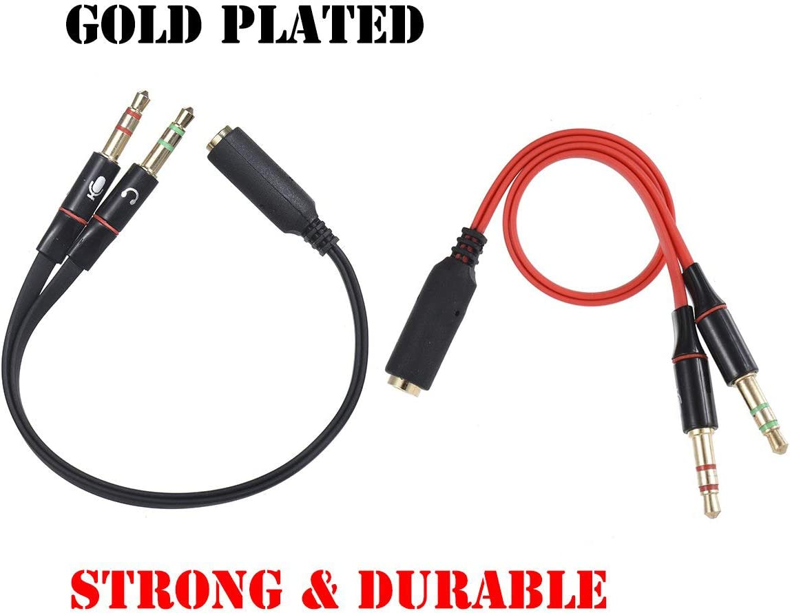 Warmstor 2-Pack 3.5mm 1//8 Inch Female to 2 Male Headphone /& Mic Plugs Gold Plated Audio Y Splitter Flat Cable for Using Smartphone /& Tablet Headset with Microphone on Computer