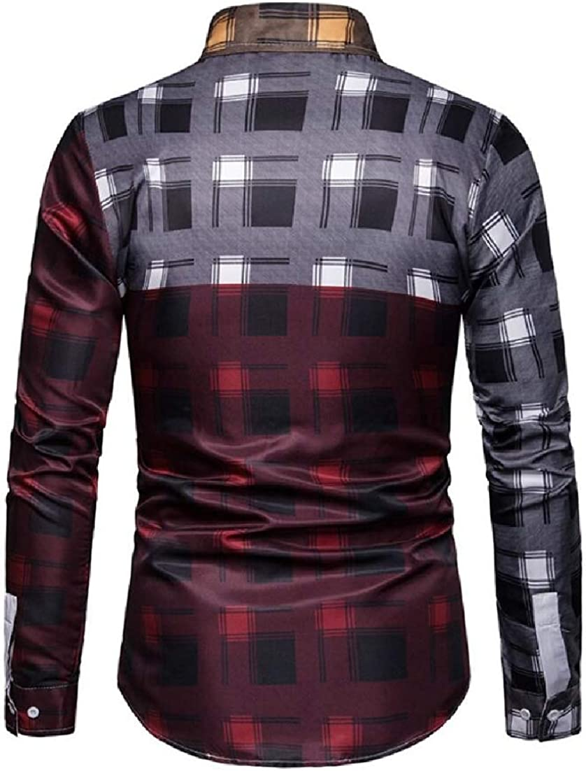 X-Future Men Color Block Casual Business Checked Buttons Dress Shirts