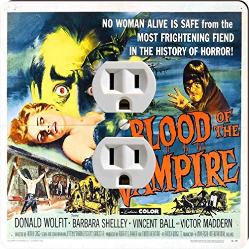 Rikki Knight 3702 Outlet Vintage Movie Posters Art Blood of Vampire 2 Design Outlet Plate by Rikki Knight