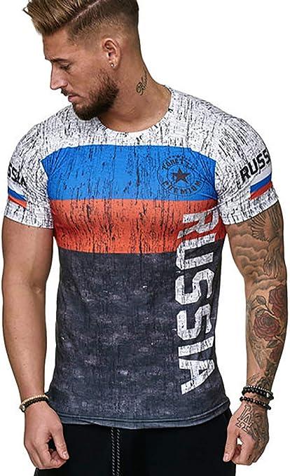 W&TT Camisetas de Manga Corta para Hombre Bandera española Camiseta de fútbol Jersey Hombre Verano Tops Transpirables Impresión Algodón tee S ~ 4XL,D,XL: Amazon.es: Hogar