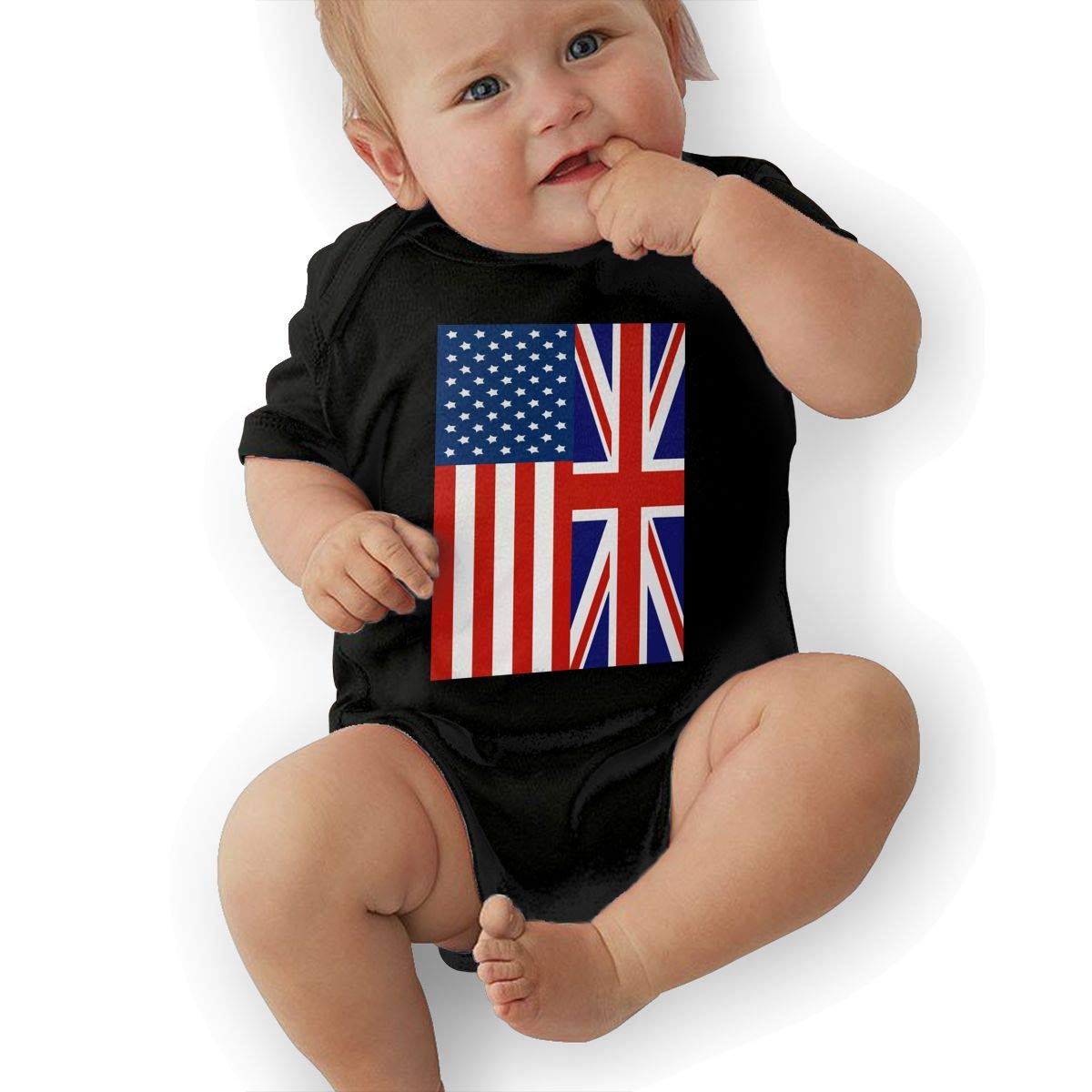 Fashion British American Flag Crawler U88oi-8 Short Sleeve Cotton Rompers for Baby Boys and Girls
