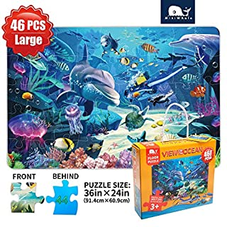 Kids Puzzle Puzzles for Kids Ages 4-8 Underwater Floor Puzzle Raising Children Recognition &Promotes Hand-Eye Coordinatio (46Pcs,3x2Feet)