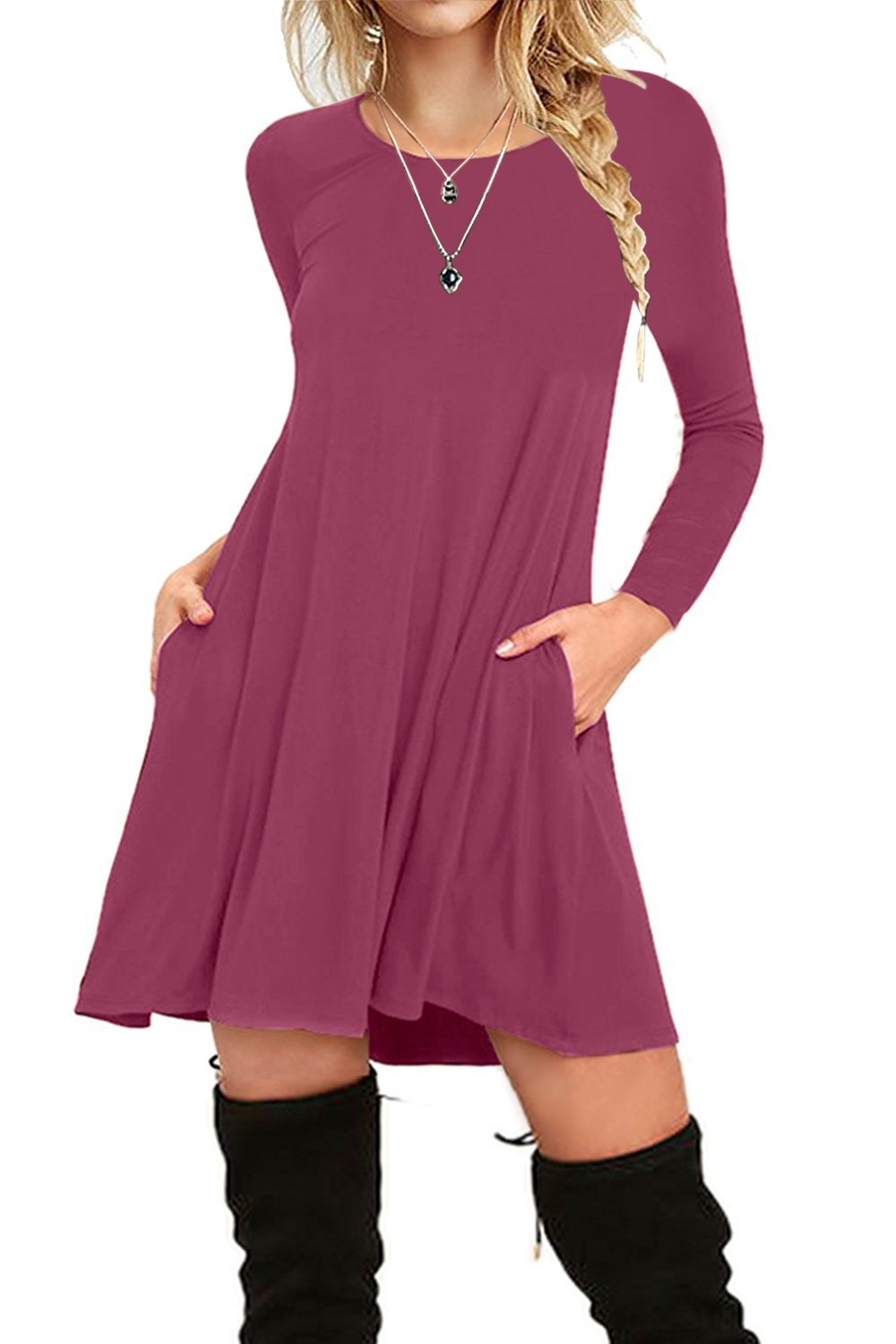 I2CRAZY Women's Long Sleeve Pockets Casual Plain T-Shirt Loose Dresses(11-Long Sleeve-Mauve,XL) by I2CRAZY (Image #1)