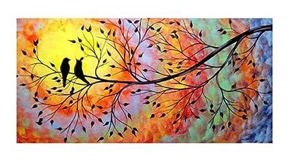 amazon com jojoil art hand painted bird and tree canvas oil