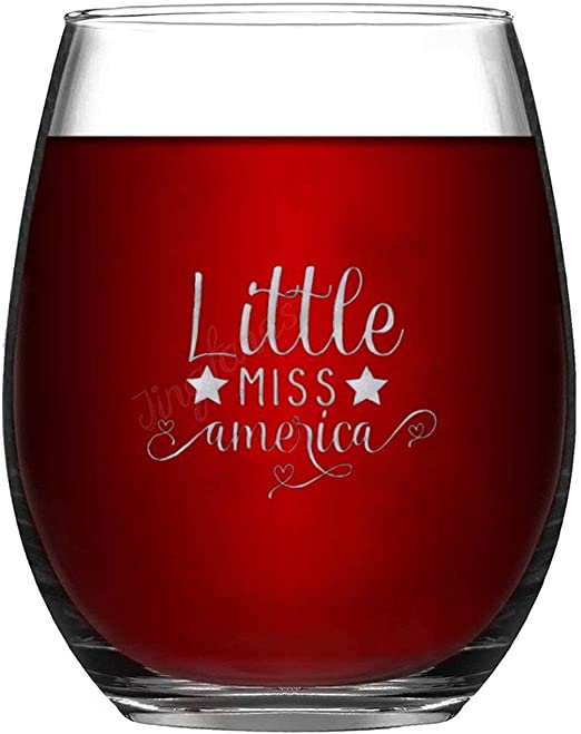 15oz Funny Wine Glass Stemless Wine Glasses - Little Miss America, Funny Birthday Gift Idea, Party Supplies Decorations for Him, Her