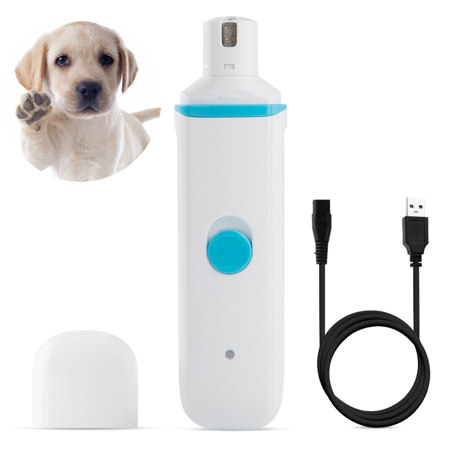 Electric Pet Nail Grinder for Dogs Cats Birds, Nail Trimming Grooming and Shaping, Low Noise with USB Wire Rechargeable and Portable, Blue