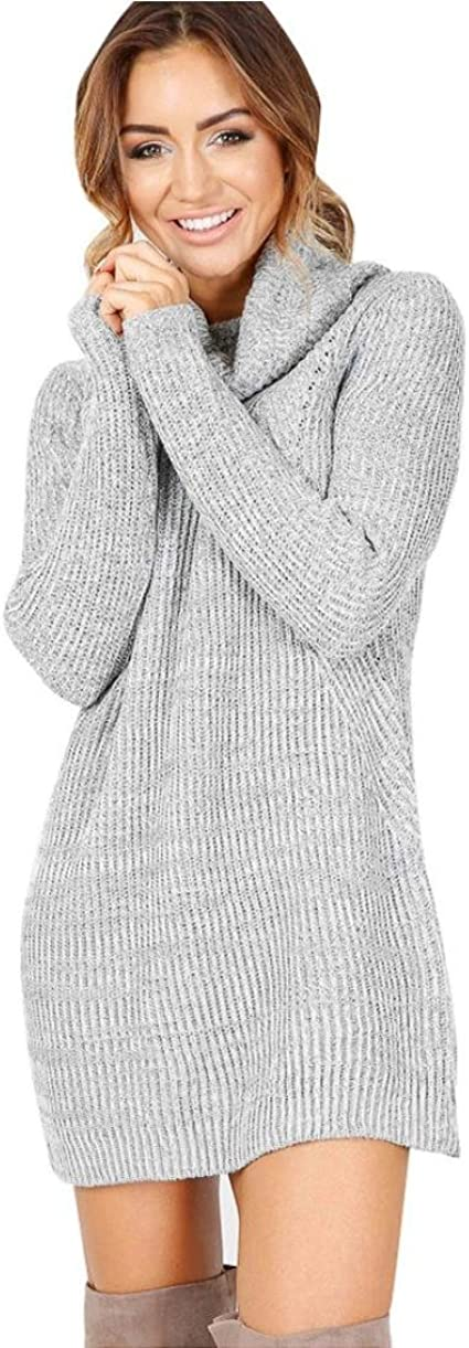 Robe Pull Femme Amlaiworld Mode Femmes Solide O Neck Tricoté