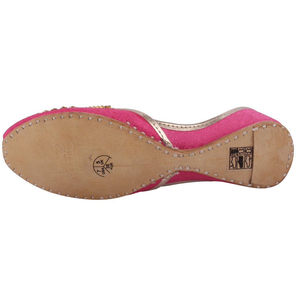 Unze New Women Traditional 'Charoite' Handmade Embellished Leather Flat Indian Khussa Pump Slippers Shoes Size 3-8 - UN-19 B072XLFNZG 6 B(M) US|Fuchsia