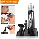 Vansky Nose Ear Hair Trimmer, Electronic Nose Trimmer Beard and Eyebrow Clipper Kits for Men&Women, Water Resistant, Stainless Steel Blades, and Battery-Operated (2-IN-1)
