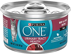 Purina 178893 3 oz One Urinary Tract Health Beef & Liver Pate Cat Food44; Case of 12