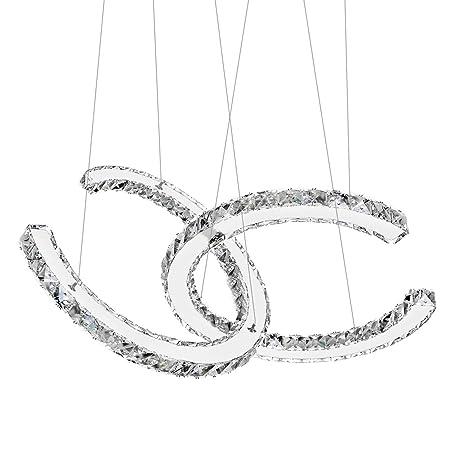 Antilisha Modern Chandelier Lighting Ceiling Girls Bed-Room Crystal  Chandeliers Led Lighting Fixtures Small Medium Size 2 C Ring Pendant Lights  for ...