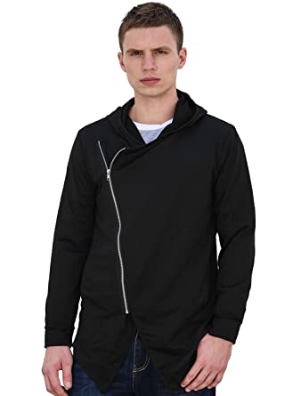 uxcell Allegra K Men Front Inclined Zipper Long Sleeves Hoodie ...