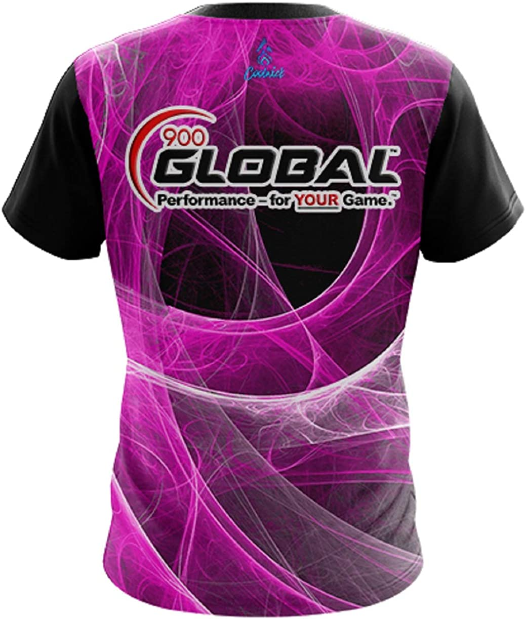 CoolWick 900 Global Mens Energy Swirls Pink Bowling Jersey