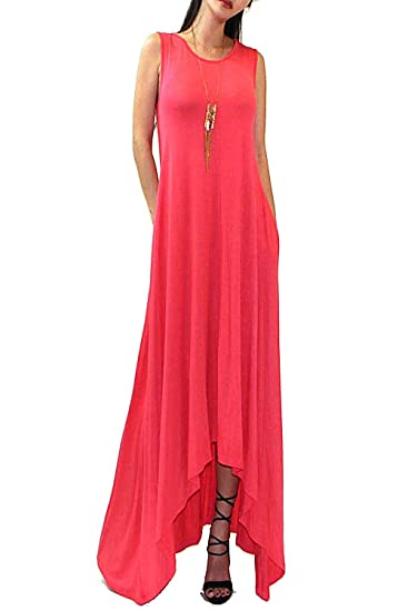 8510965134 Vivicastle Batwing Oversized Loose Summer Tank Scoop Neck Pocket Long Maxi  Dress (Small, Coral