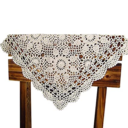 QEES Handmade Crochet Doilies Cotton Lace Square Table Placemats Sofa Doily  Hollow Decorative Table Cover ZQ05 (28 Inch, Beige)