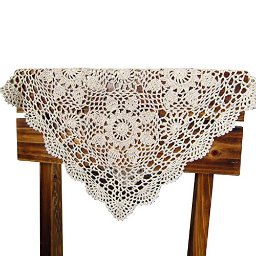 Cover Crochet Pattern - QEES Handmade Crochet Doilies Cotton Lace Square Table Placemats Sofa Doily Hollow Decorative Table Cover ZQ05 (28 Inch, Beige)