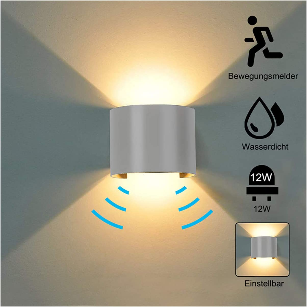 Outdoor Led Waterproof Wall Lamp Motion Sensor Courty Garden Porch Light 1 Y4D4