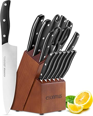 esonmus Cuchillos de Cocina Profesionales, 15 Piezas Juego de Cuchillos de Cocina, Hecho de Acero Alemán X50Cr15 Incluye Afilador de Cuchillos, Tijeras, Bloque de Madera