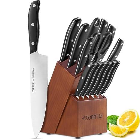 esonmus Cuchillos de Cocina con Bloque de Madera, Juego de Cuchillos con Hoja de Acero Inoxidable y Mango sólido ABS, 15 Piezas