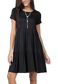 b6d4aa1e6bda levaca Women Summer Short Sleeve Ruffle Loose Swing Casual T Shirt Dress