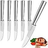 homgeek  Juego de 6 Cuchillos de Carne Cuchillos de Mesa de Acero Inoxidable Hoja 22.5 cm