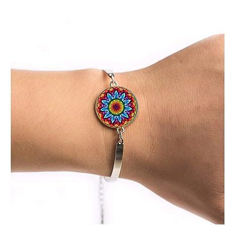 YIYIYYA Bracelet Femme Bracelet Bijoux De Style Indien Yoga Zen Bouddhisme  Symbole Coloré Unique Bracelets Fleur
