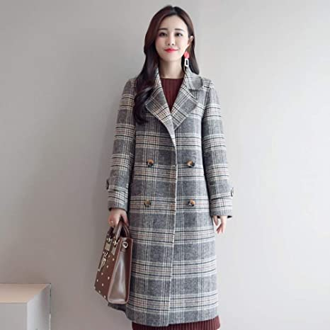 clothes Medio de Longitud de Doble Botonadura Abrigo de Lana Femenino, 2018 Otoño E Invierno