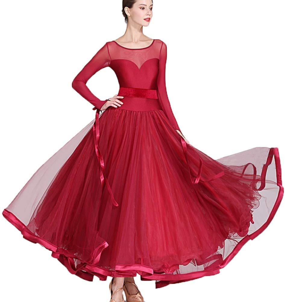 AISHUAIGE Manica Lunga Vestito da Ballo Standard per Donne//Ragazze Maglia Cucitura Valzer Moderna Abiti da Competizione Ballo da Sala Semplice Abbigliamento da Ballo di Tango Performance