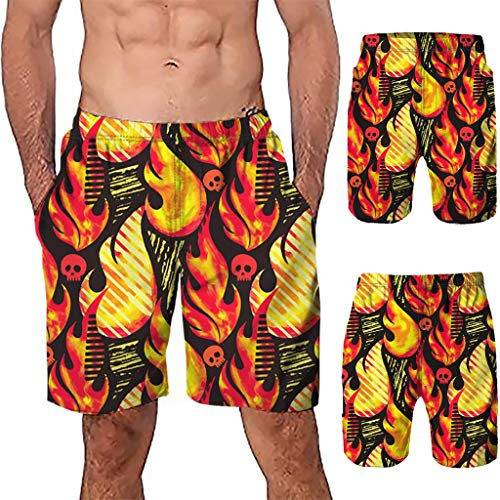 NUWFOR Men Casual 3D Graffiti Printed Beach Work Casual Men Short Trouser Shorts Pants(Z2-Multi Color,US:M Waist9.1-33.1'') by NUWFOR (Image #1)