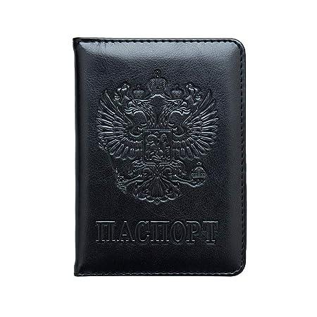 Nysusnhine - Funda para Tarjeta de identificación de Viaje con Bloqueo RFID, diseño de Rusia Negro Negro