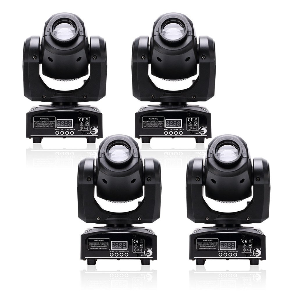 U`King 4pcs One Set Stage Lights, Portable LED Spot Moving Head Light 25W RGBW 4 Color with 4 Control Mode for Party Disco DJ Show DMX-512 …