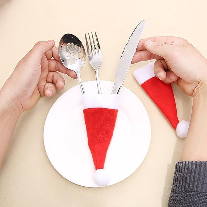 10pcs Navidad cubiertos soportes bolsillos gorro de Papá Noel cuchillo y tenedor para cena de Navidad cocina vajilla decoración: Amazon.es: Hogar