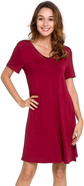 GYS Womens Short Sleeve Nightshirt V Neck Bamboo Nightgown AMP752Q ... b1077f0c0
