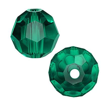 53cb26a7c Amazon.com: 6pcs Authentic 8mm Swarovski Crystals 5000 Round Crystal Beads  for Jewelry Craft Making (Emerald) SWA-R824: Everything Else
