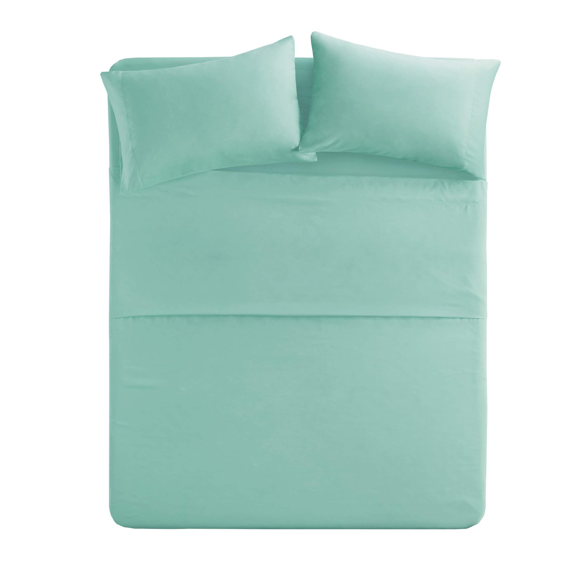Comfort Spaces - Hypoallergenic Microfiber Sheet Set - 4 Piece - Twin Size- Wrinkle, Fade, Stain Resistant - Aqua Blue - Includes Flat Sheet, Fitted Sheet and 2 Pillow Cases