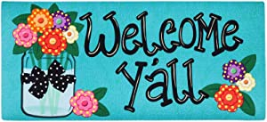 Evergreen Flag Welcome Y'all with Polka Dot Flowers Sassafras Switch Mat - 22 x 1 x 10 Inches