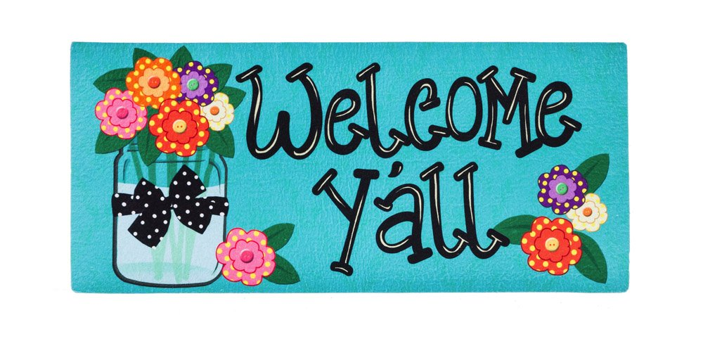 Evergreen Welcome Y'all with Polka Dot Flowers Decorative Mat Insert, 10 x 22 inches