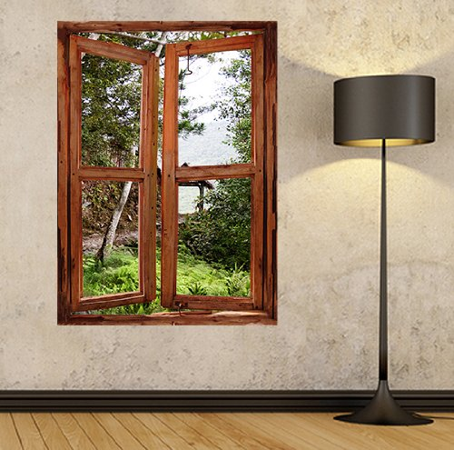Fototapete fensterrahmen  Illusion Fenster View Wand Wandbild Fenster View, Fenster Rahmen ...