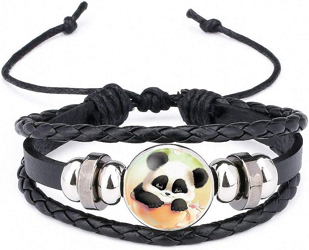 Hynsin Womens Bracelet Giant Panda Baby Pictures Black Leather Bracelet Multi Layer Lovely Cartoon Animal Glass Cabochon Bangle for Girl Boy