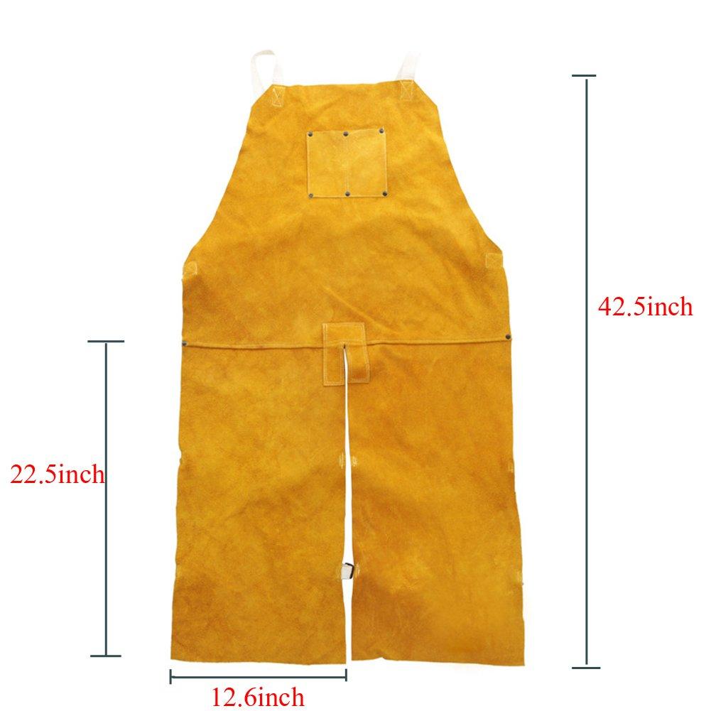 Genuine Cowhide Welding Apron Heavy-Weight Side Split Leg Fire Resistant Wear-resistant Welding Coat Jacket One Size fit Most Men For Workshop, Grinding, Carpentry HJ0001 by TUYU (Image #4)