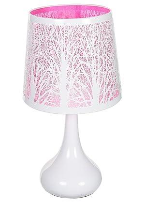 Blanc Arbre Métal Rose Motif Lampe Touch WH92YEDI